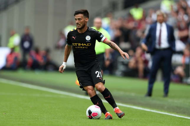 David Silva in possession of the ball for Manchester City against West Ham