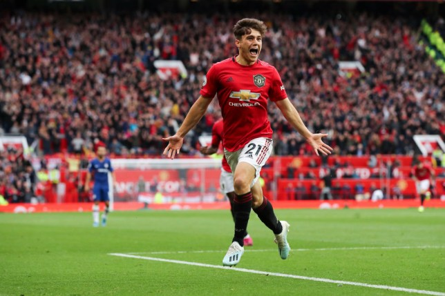 Daniel James celebrating his goal for Manchester United against Chelsea at Old Trafford