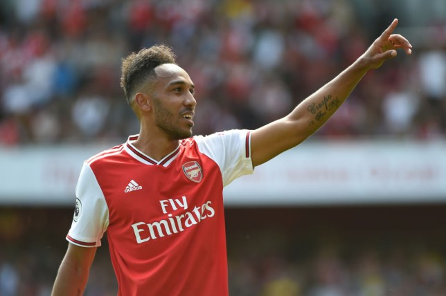 Pierre-Emerick Aubameyang points to the crowd during Arsenal's win against Burnley