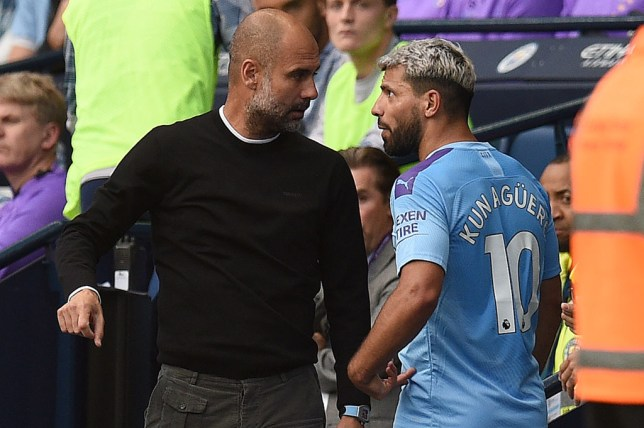 Sergio Aguero was unhappy with Pep Guardiola after being substituted (Picture: Getty)