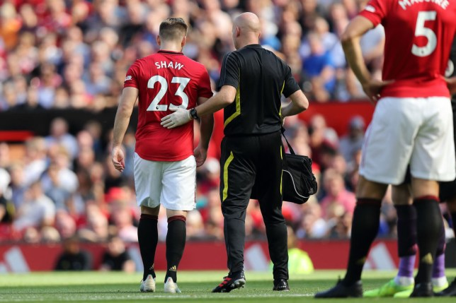 Luke Shaw was forced off with a hamstring injury in the first half of Manchester United's defeat to Crystal Palace