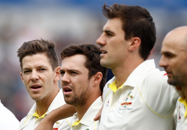 Australia captain Tim Paine, left, ahead of the first Ashes Test