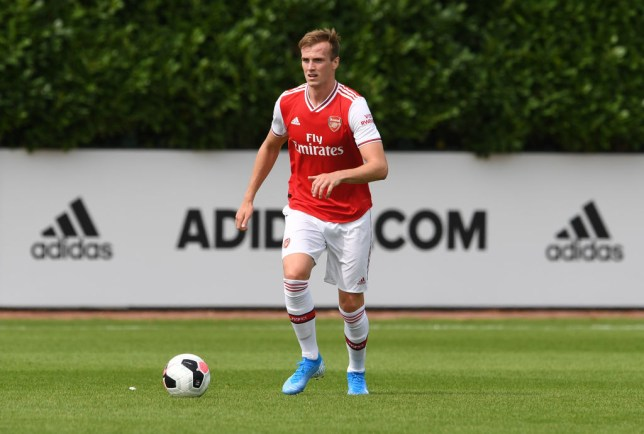Rob Holding in possession of the ball for Arsenal U23s against Watford