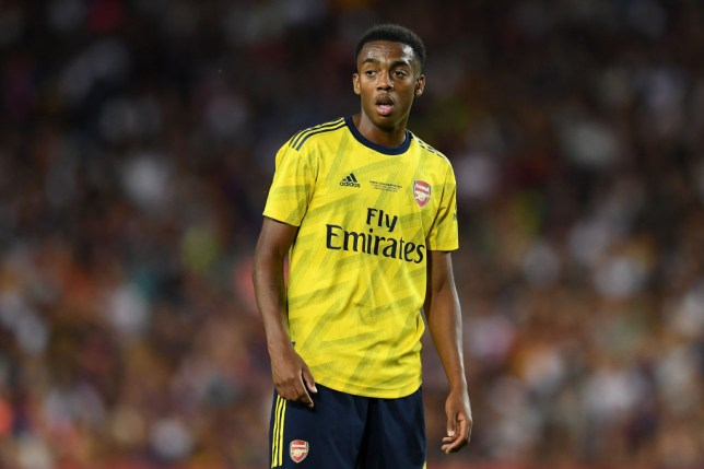 Joe Willock in action for Arsenal against Barcelona