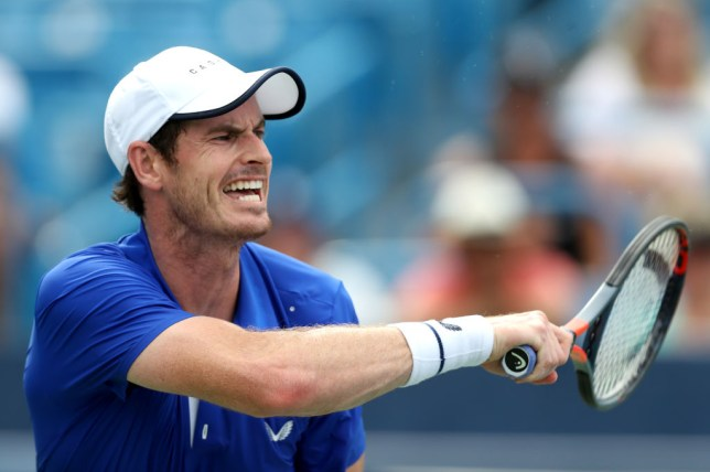Andy Murray hits a forehand