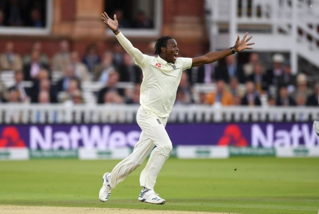 England fast bowler Jofra Archer celebrates his first Test wicket