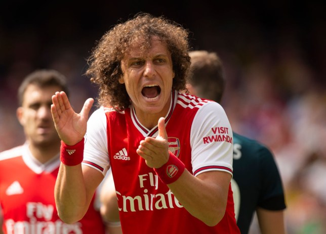 David Luiz offers encouragement to his Arsenal teammates against Burnley