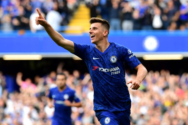 Mason Mount of Chelsea celebrates after scoring his goal against Leicester City at Stamford Bridge