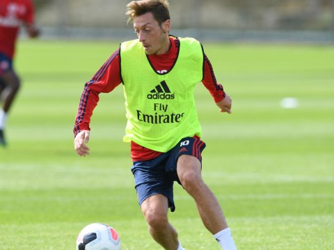 Mesut Ozil trains ahead of Arsenal's clash with Liverpool
