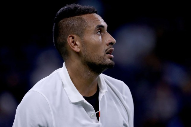 Nick Kyrgios looks on during his opening US Open match