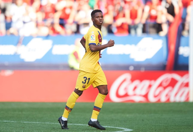 Ansu Fati reacts after scoring for Barcelona against Osasuna