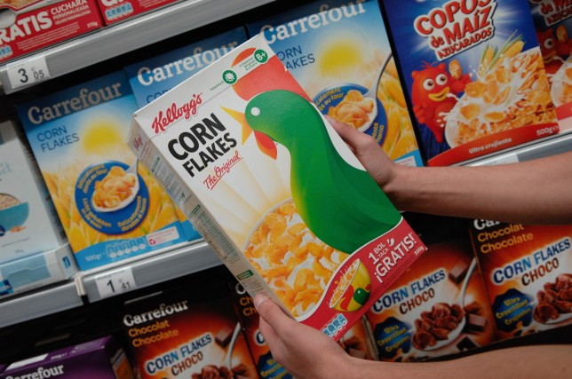 A box of Kellogg's corn flakes.