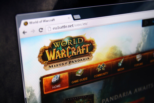 World of warcraft logo on computer