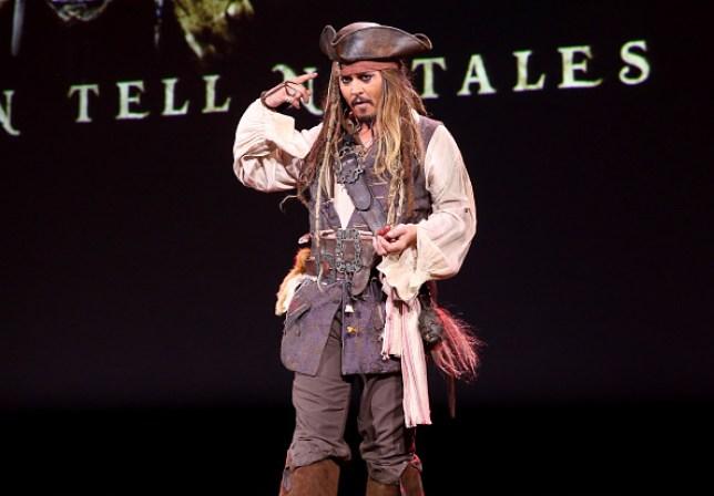 Actor Johnny Depp, dressed as Captain Jack Sparrow