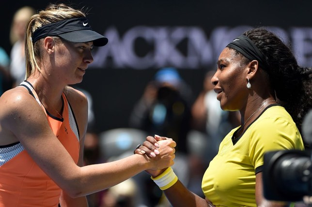 Maria Sharapova shakes hands with Serena Williams after a match