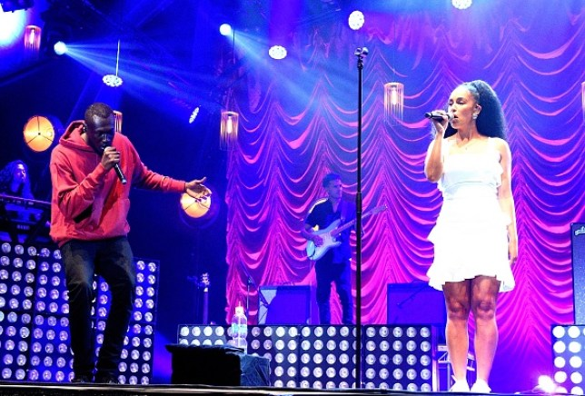 Stormzy performing on stage with Jorja Smith at Somerset House Summer Series