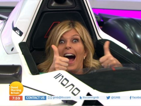 Good Morning Britain's Kate Garraway gets stuck in a sports car and it's everything