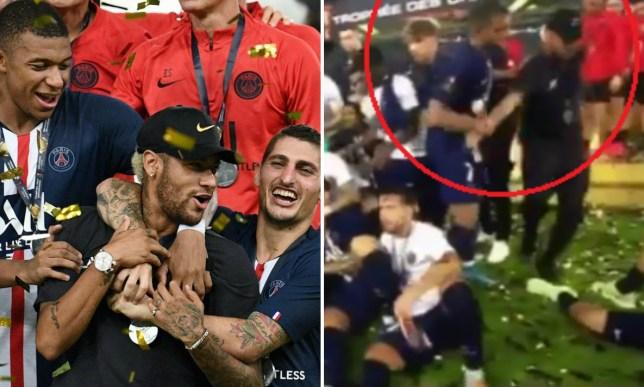 Kylian Mbappe shoves Neymar out of PSG trophy celebrations after Super Cup win