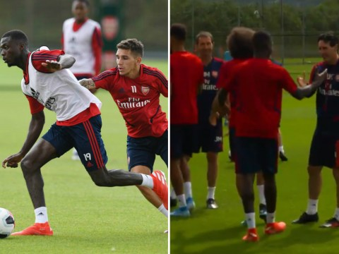 Nicolas Pepe given class welcome to Arsenal by new teammates on first day of training