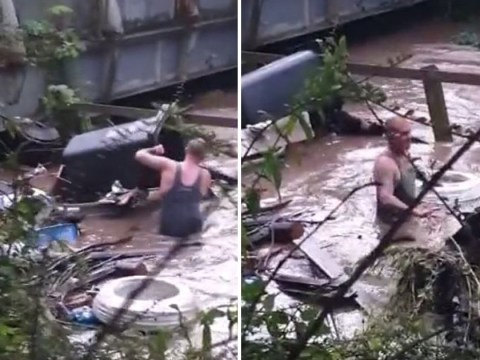 'Brave heroes' wade into Poynton floods to unblock clogged road drains