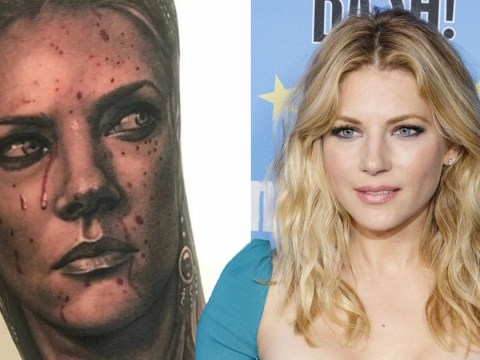 Vikings' Katheryn Winnick shows off life-like Lagertha fan tattoos and we're impressed