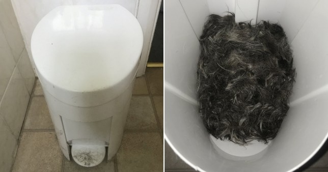 Ben James was shocked when he opened the bathroom bin to discover it full of human hair