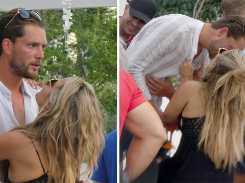 Caroline Flack kisses tennis player beau Lewis Burton in Ibiza as she finds love after Love Island