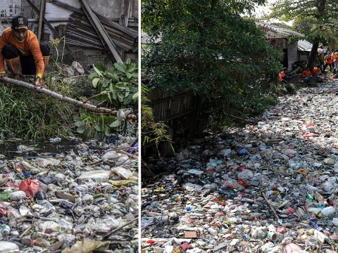 Indonesian 'Happy River' so polluted you can't see the water