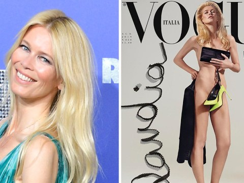 Claudia Schiffer schools us all in how to take selfies as she strips off for Vogue Italia