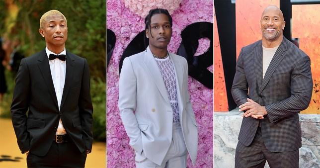 Pharrell Williams, ASAP Rocky and Dwayne Johnson