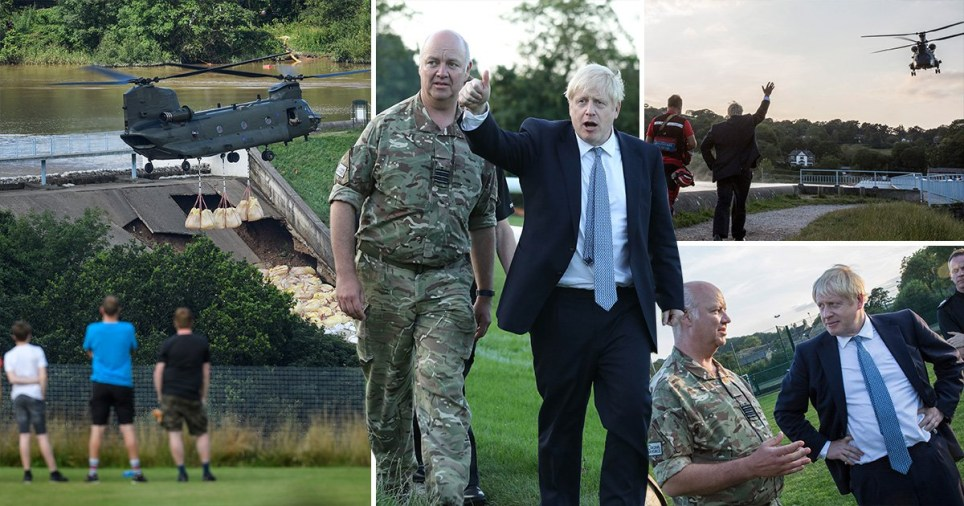 Boris Johnson visited the Whaley Bridge dam on Friday night to oversee emergency efforts