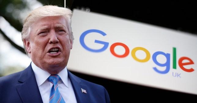 Donald trump next to the google logo