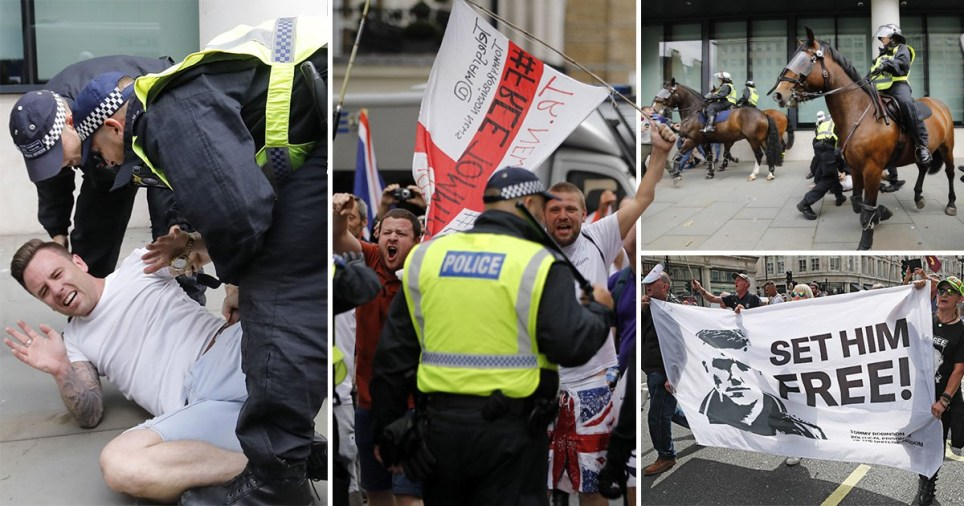 Supporters of far-right activist and criminal Tommy Robinson have clashed with police