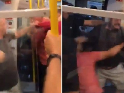 Moment Liverpool and Manchester City fans fight on the tube