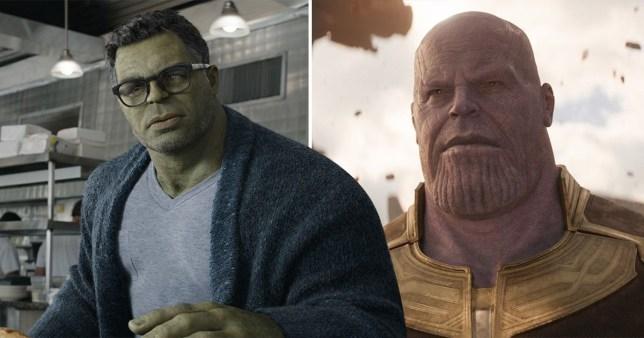 Smart Hulk (Mark Ruffalo) and Thanos (Josh Brolin) in Avengers
