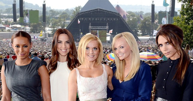 Spice Girls and Glasto backdrop