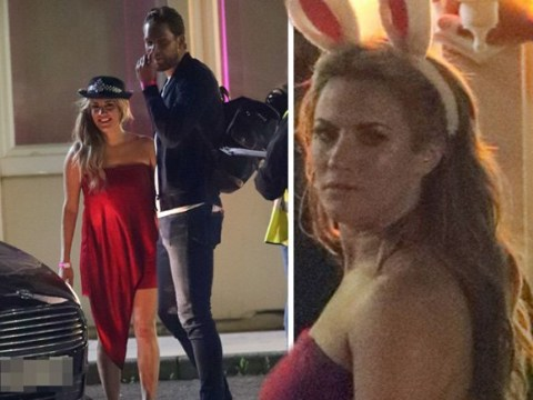 Caroline Flack rocks police hat as she takes new man Lewis Burton to Love Island wrap party