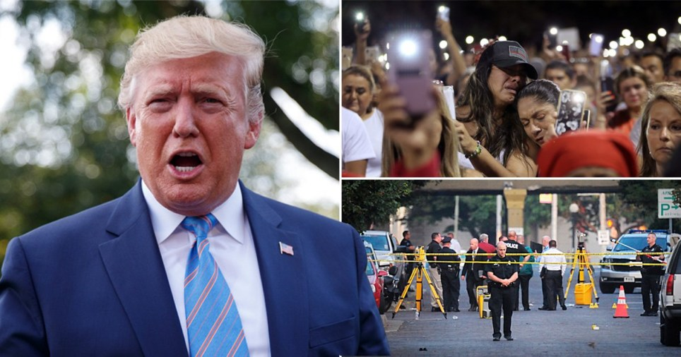 Picture of Donald Trump next to mourners outside Walmart in El Paso, and police at the scene of another massacre in Dayton, Ohio