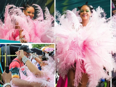 Rihanna's amazing 2019 Crop Over outfit is pink, feathered and way more conservative than past years