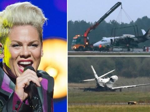Plane carrying Pink's management bursts into flames after crash-landing in Denmark