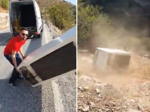 Man who threw fridge off cliff is made to drag it back up by police