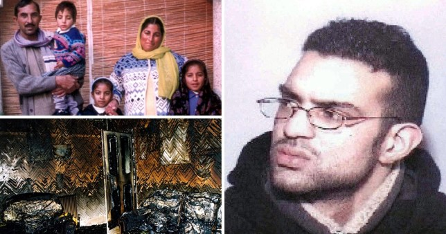 Shahid Mohammed, members of the Chisti family home and pictures of wreckage after setting house on fire