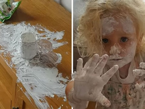 Toddler poos on the floor and covers herself in Sudocrem the moment her mum leaves the room