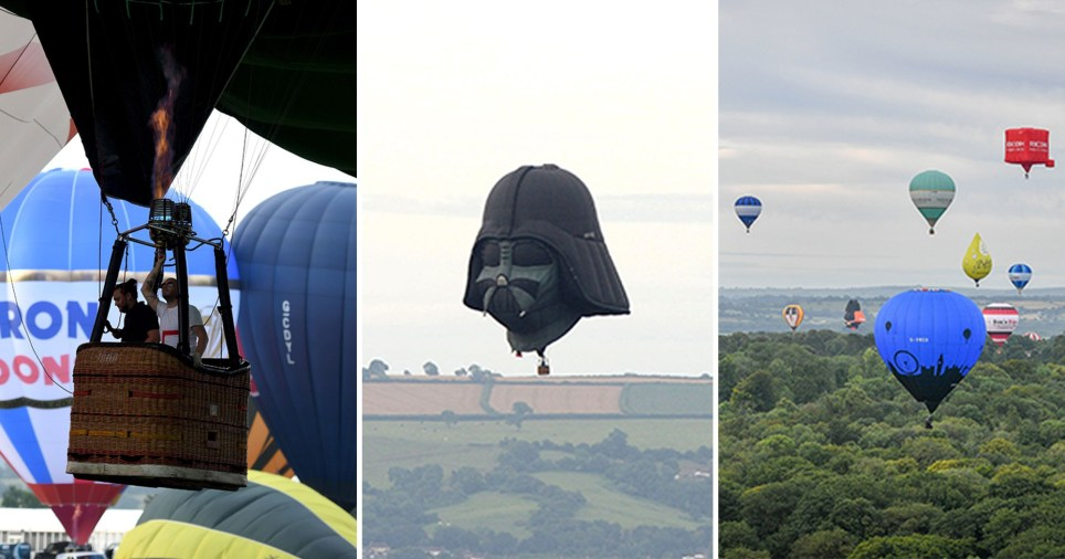 Two people in a basket, the balloons in the sky and darth vader