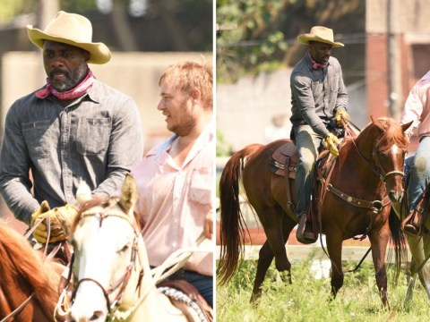 Idris Elba saddles up as he takes horseriding lessons for Concrete Cowboys movie