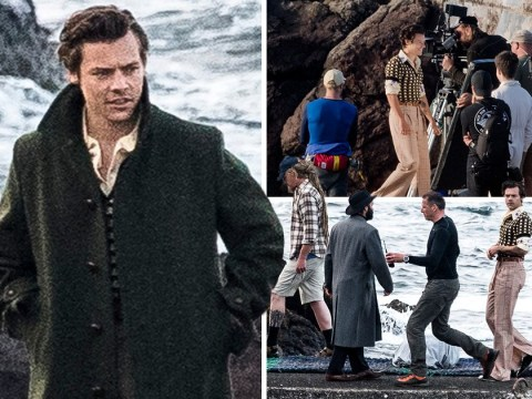 Harry Styles proves he can pull off anything as he rocks vintage look for music video shoot