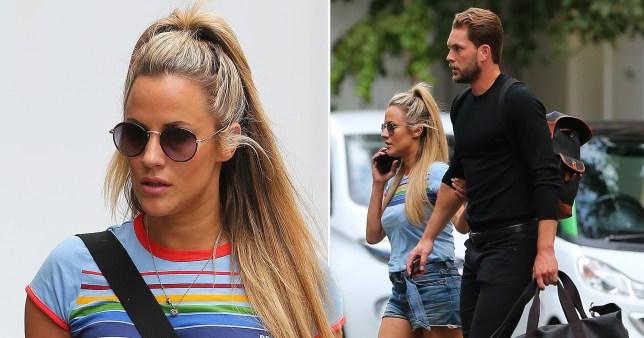 Caroline Flack can't keep her hands off new beau Lewis Barton as his ex warns her off