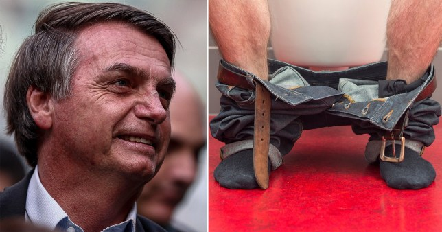 Bolsonaro and person sitting on toilet