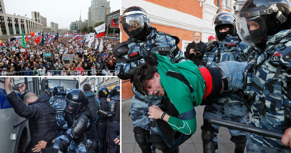 The protest erupted in Moscow