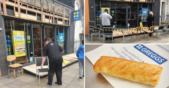 Men injured by falling Greggs sign in strong winds